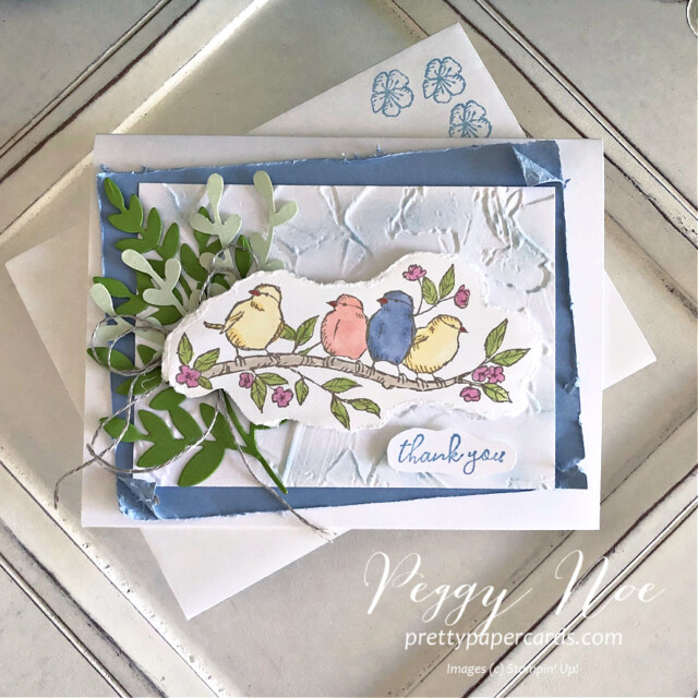 Handmade Thank You card made with the Free as a Bird stamp set by Stampin' Up! created by Peggy Noe Pretty Paper Cards #freeasabird #thankyou #thankyoucard #peggynoe #prettypapercards #stampinup
