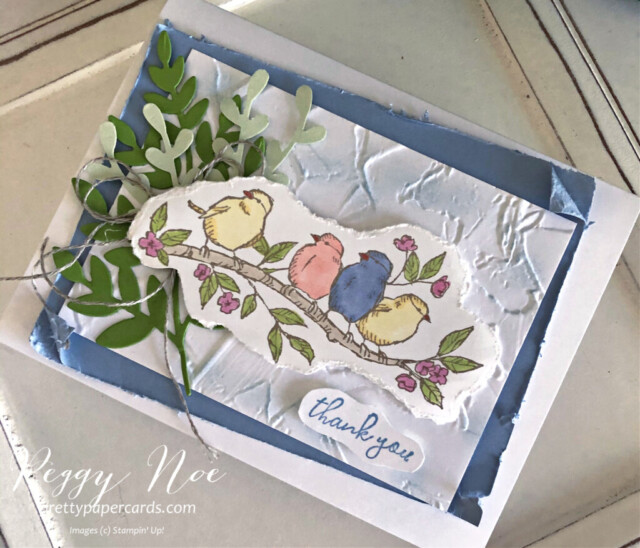 Handmade Thank You card made with the Free as a Bird stamp set by Stampin' Up! created Peggy Noe Pretty Paper Cards #freeasabird #thankyou #thankyoucard #peggynoe #prettypapercards #stampinup