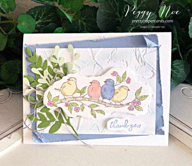 Handmade Thank You card made with the Free as a Bird stamp set by Stampin' Up! created by Peggy Noe of Pretty Paper Cards #freeasabird #freeasabirdstampset #thankyou #thankyoucard #peggynoe #prettypapercards #stampinup