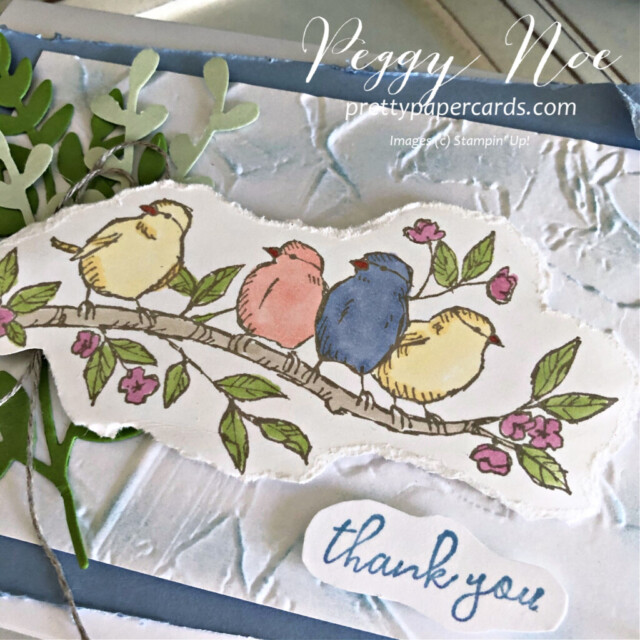 Handmade Thank You card made with the Free as a Bird stamp set by Stampin' Up! created by Peggy Noe of Pretty Paper Cards #freeasabird #thankyou #thankyoucard #peggynoe #prettypapercards #stampinup