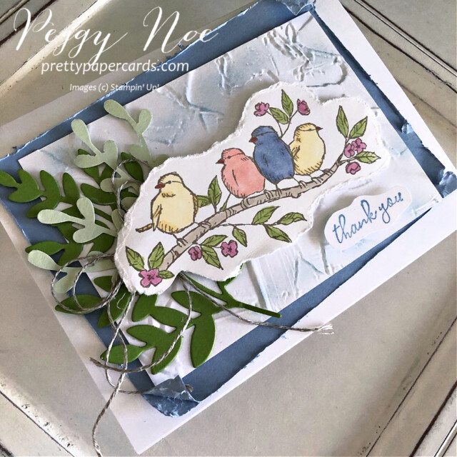 Handmade Thank You card made with the Free as a Bird stamp set by Stampin' Up! created by Peggy Noe of Pretty Paper Cards #freeasabird #freeasabirdstampset #thankyou #thankyoucard #peggynoe #prettypapercards #stampinup #stampingup