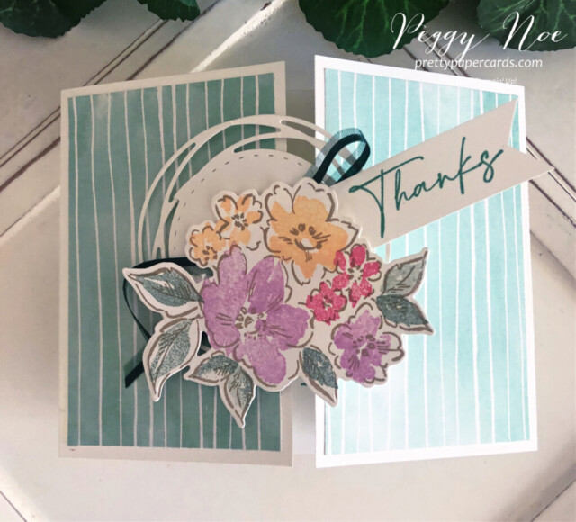 Handmade thank you gatefold card using the Hand-Penned Suite by Stampin' Up! created by Peggy Noe of prettypapercards.com #PrettyPaperCards #prettypapercards.com #handpenned #handpennedsuite #stampinup #stampingup #gatefold #gatefoldcard #thankyoucard