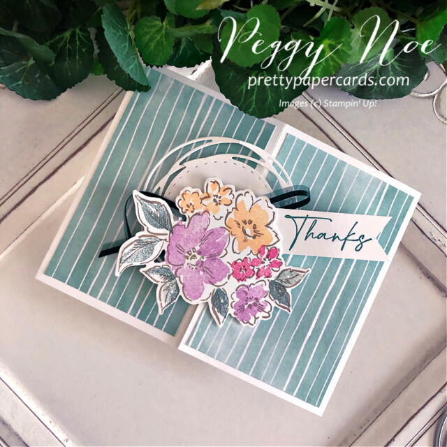 Handmade thank you gatefold card using the Hand-Penned Suite by Stampin' Up! created by Peggy Noe of prettypapercards.com #PrettyPaperCards #prettypapercards.com #handpenned #handpennedsuite #stampinup #stampingup #gatefoldcard #thankyoucard