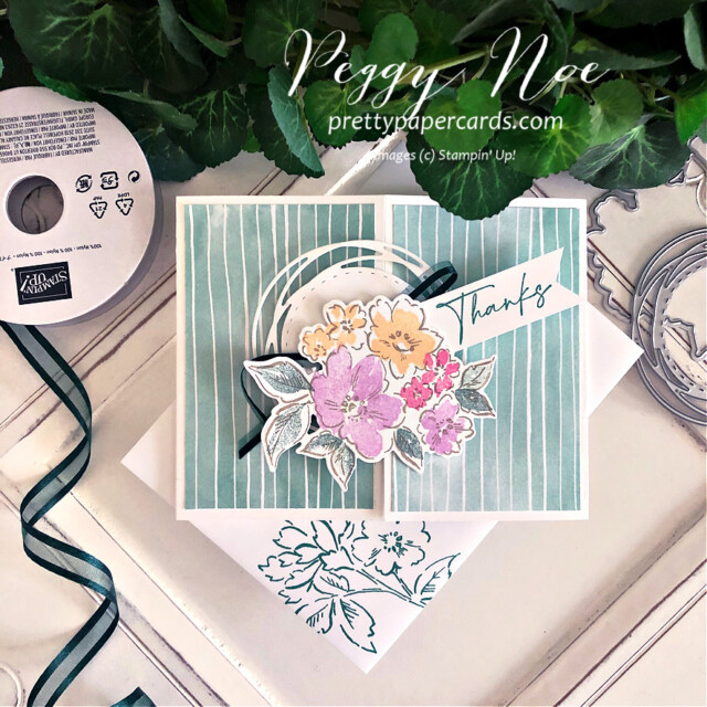 Handmade thank you gatefold card using the Hand-Penned Suite by Stampin' Up! created by Peggy Noe of prettypapercards.com #PrettyPaperCards #prettypapercards.com #handpenned #handpennedsuite #stampinup #stampingup #gatefold #gatefoldcard #paintedlabelsdies #thankyou #thankyoucard
