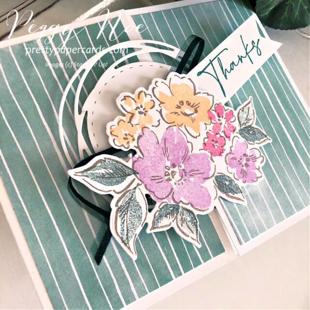 Handmade thank you gatefold card using the Hand-Penned Suite by Stampin' Up! created by Peggy Noe of prettypapercards.com #PrettyPaperCards #prettypapercards.com #handpenned #handpennedsuite #stampinup #stampingup #gatefold #gatefoldcard #paintedlabelsdies #thankyoucard
