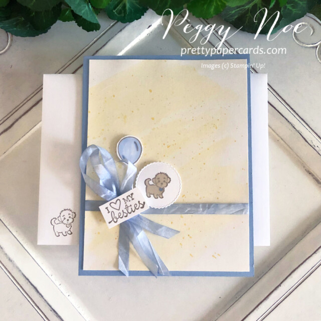 Handmade friend puppy card using the Hey, Girlfriend stamp set by Stampin' Up! created by Peggy Noe of prettypapercards.com #dogcard #peggynoe #prettypapercards #heygirlfriendstampset #stampinup