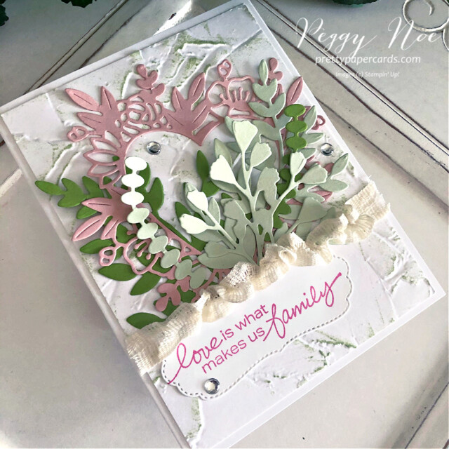 Handmade card Love Makes Us Family Card using Stampin' Up! Lovely You stamps Peggy Noe prettypapercards.com #lovelyyoustampset #floralheartdies #stampinup #peggynoe #prettypapercards