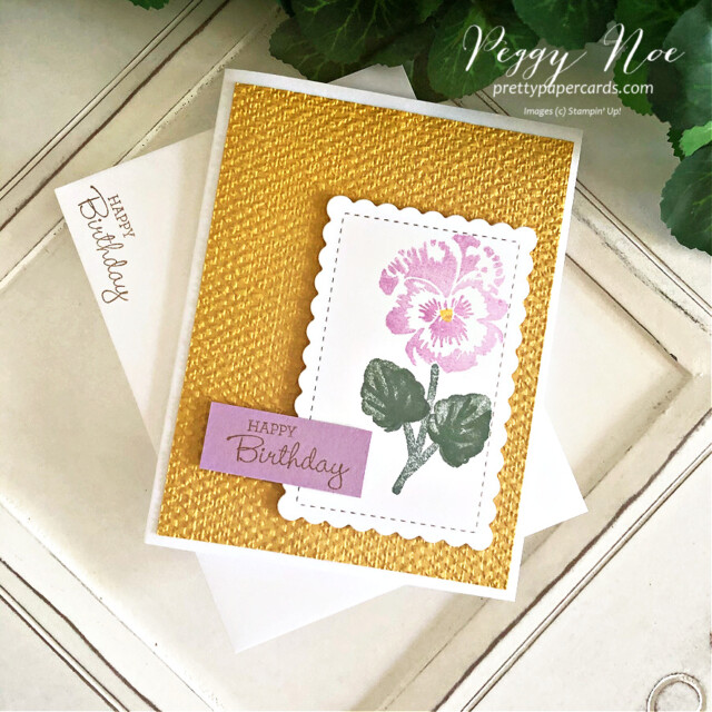 Handmade Birthday Card created with the Pansy Patch Bundle by Stampin' Up! by Peggy Noe of Pretty Paper Cards #pansypatch #pansypatchbundle #peggynoe #prettypapercards #tastefultextile #tastefultextileembossingfolder #scallopedcontoursdies #birthdaycards #stampinup
