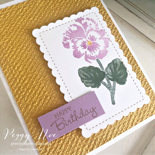 Handmade Birthday Card created with the Pansy Patch Bundle by Stampin' Up! by Peggy Noe of Pretty Paper Cards #pansypatch #pansypatchbundle #peggynoe #prettypapercards #tastefultextile #tastefultextileembossingfolder #scallopedcontoursdies #birthdaycard #stampinup