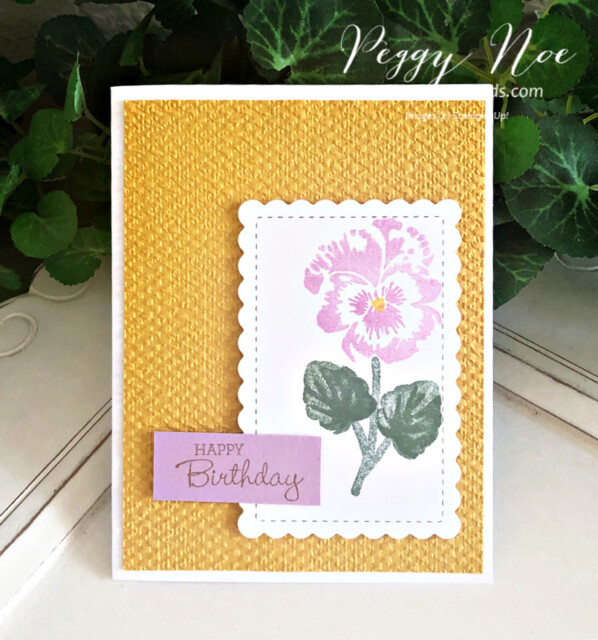 Handmade Birthday Card created with the Pansy Patch Bundle by Stampin' Up! by Peggy Noe of Pretty Paper Cards #pansypatch #pansypatchbundle #peggynoe #prettypapercards #tastefultextile #tastefultextileembossingfolder #scallopedcontoursdies #birthday #birthdaycard #stampinup #stampingup