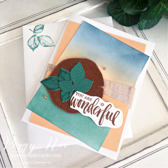 Handmade all-occasion card made with the Rooted in Nature Card stamp set by Stampin' Up! designed by Peggy Noe of prettypapercards.com #peggynoe #prettypapercards.com #rootedinnature #naturesrootsdies #blendingbrushes #blendingtechnique