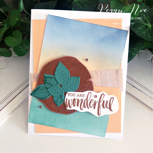 Handmade all-occasion card made with the Rooted in Nature Card stamp set by Stampin' Up! designed by Peggy Noe of prettypapercards.com #peggynoe #prettypapercards.com #rootedinnature #naturesrootsdies #blendingbrushes