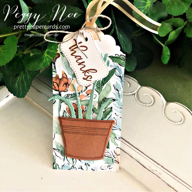 Handmade Thank You Tag made with the Simply Succulents Bundle by Stampin' Up! created by Peggy Noe prettypapercards.com #simplysucculent #simplysucculentbundle #handmadetag #thankyou