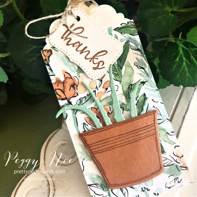 Handmade Thank You Tag made with the Simply Succulents Bundle by Stampin' Up! created by Peggy Noe of prettypapercards.com #simplysucculent #simplysucculentbundle #handmadetag #thankyou #thankyoutag