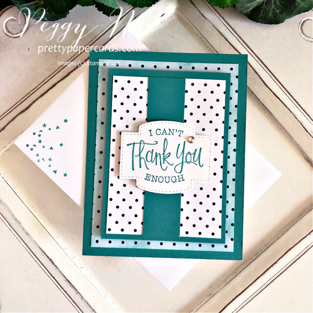 Handmade thank you card and mini curvy keepsake box using True Love designer paper and So Sentimental stamp set by Stampin' Up! created by Peggy Noe Pretty Paper Cards #truelovedsp #thankyoucard #sosentimentalstampset #peggynoe #prettypapercards #minicurvykeepsakebox #stampinup