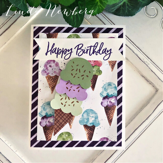 Handmade Birthday Card using the Sweet Ice Cream Bundle by Stampin' Up! created by Peggy Noe of Pretty Paper Cards #stampinup #peggynoe #prettypapercards.com #stampingup #sweeticecream #sweeticecreambundle #icecreamcone #birthdaycard #icecreamconebuilderpunch