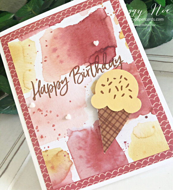 Handmade Birthday Card using the Sweet Ice Cream Bundle by Stampin' Up! created by Peggy Noe of Pretty Paper Cards #stampinup #peggynoe #prettypapercards #stampingup #sweeticecream #sweeticecreambundle #icecreamcone #birthdaycard #icecreamconebuilderpunch