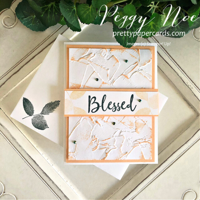 Handmade 'hello' card made with the To a Wild Rose stamp set and Painted Texture 3D Embossing Folder by Stampin' Up! created by Peggy Noe of prettypapercards.com #toawildrose #toawildrosestampset #paintedtexture3Dembossingfolder #peggynoe #prettypapercards.com #prettypapercards #stampinup #stampingup #embossingfolder