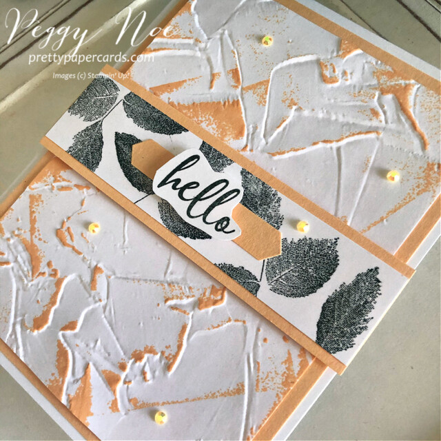 """Hand""""hello"""" card made with the To a Wild Rose stamp set and Painted Texture 3D Embossing Folder by Stampin' Up! created by Peggy Noe of prettypapercards.com #toawildrose #toawildrosestampset #paintedtexture3Dembossingfolder #peggynoe #prettypapercards.com #prettypapercards #stampinup #stampingup #embossingfolder #embossingfoldertechnique"""