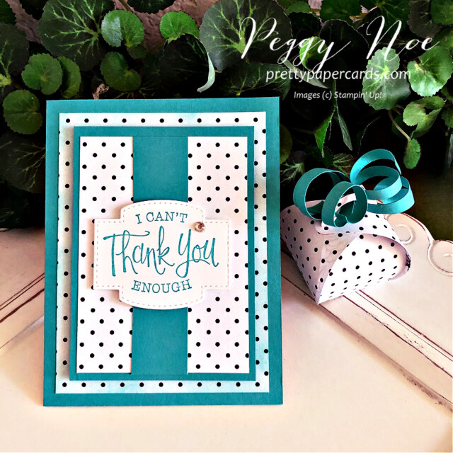 Handmade thank you card and mini curvy keepsake box using True Love designer paper and So Sentimental stamp set by Stampin' Up! created by Peggy Noe of Pretty Paper Cards #truelovedsp #thankyoucard #sosentimentalstampset #peggynoe #prettypapercards #minicurvykeepsakebox #stampinup #stampingup