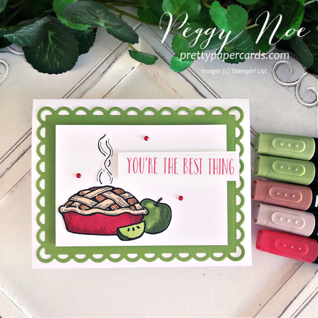 Handmade Apple Pie Card created with Stampin' Up! Digital Download made by Peggy Noe of Pretty Paper Cards #applepiecard #peggynoe #prettypapercards #prettypapercards.com #unitedthroughcreativity #scallopedcontourdies #webelongtogether #stampinblends #stampinup #stampingup