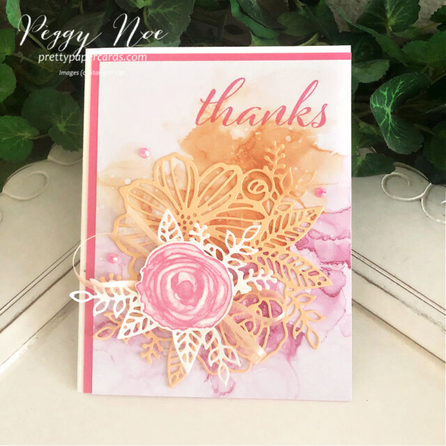 Handmade Thank You Card using the Expressions in Ink Suite by Stampin' Up! designed by Peggy Noe of Pretty Paper Cards #expressionsinink #artisticallyinked #thankyoucard #thankscard #palepapaya #polishedpink #thankyoucard #thankscard #peggynoe #prettypapercards #prettypapercards.com #artisticdies #flowercard #watercolorcard #expressionsininkdsp #expressionsininkpaper #stampinup #stampingup #handmadecard
