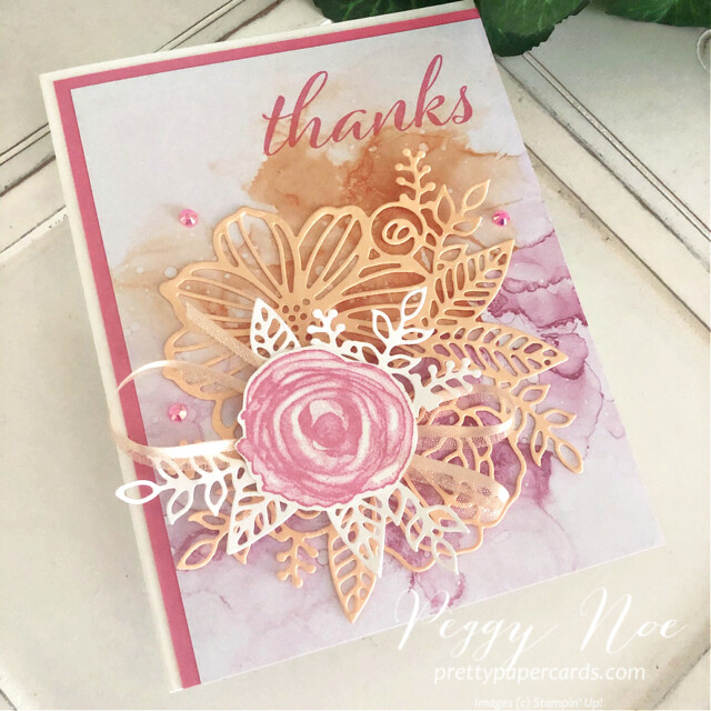Handmade Thank You Card using the Expressions in Ink Suite by Stampin' Up! designed by Peggy Noe of Pretty Paper Cards #expressionsinink #artisticallyinked #thankyoucard #thankscard #palepapaya #polishedpink #thankyoucard #thankscard #peggynoe #prettypapercards #prettypapercards.com #artisticdies #flowercard #watercolorcard #expressionsininkdsp #expressionsininkpaper #stampinup #stampingup #stampinupdemo