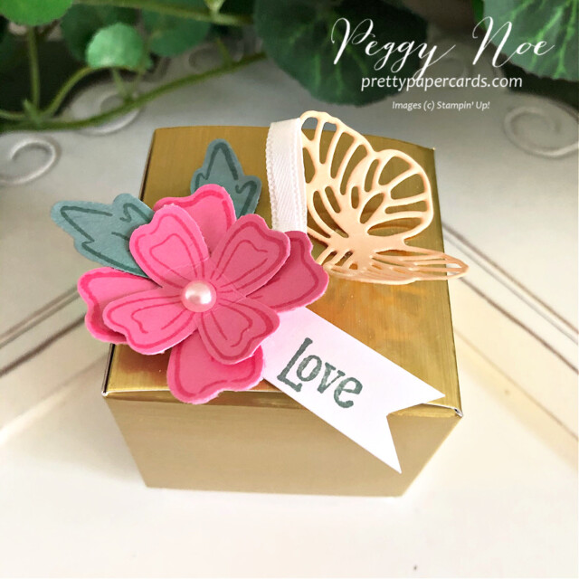 Simply Classic Gold Treat Box by Stampin' Up! by Peggy Noe of Pretty Paper Cards #simplyclassictreatbox #goldtreatbox #tinytreatbox #tinygoldtreatbox #stampinuptinytreatbox #stampinupgoldtreatbox #peggynoe #prettypapercards #chocolatetreatbox