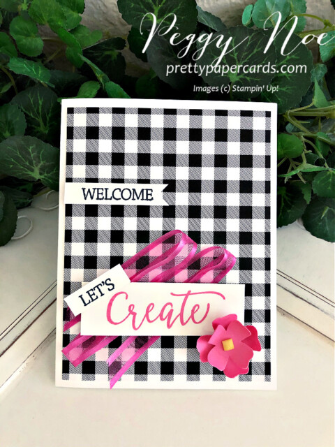 Handmade card using the Create With Friends stamp set by Stampin' Up! made by Peggy Noe of prettypapercard.com #createwithfriends #stampinup #stampingup #peggynoe #prettypapercards #flowers&leavespunch #patternpartydsp #polishedpinksheerribbon #createcard #let'screaatetogether #let'screatetogethercard