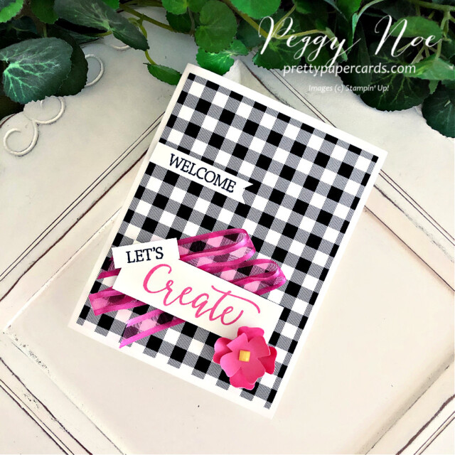 Handmade card using the Create With Friends stamp set by Stampin' Up! made by Peggy Noe of prettypapercard.com #createwithfriends #stampinup #stampingup #peggynoe #prettypapercards #flowers&leavespunch #patternpartydsp #polishedpinksheerribbon #let'screaatetogether #let'screatetogethercard #papercrafting #createcards