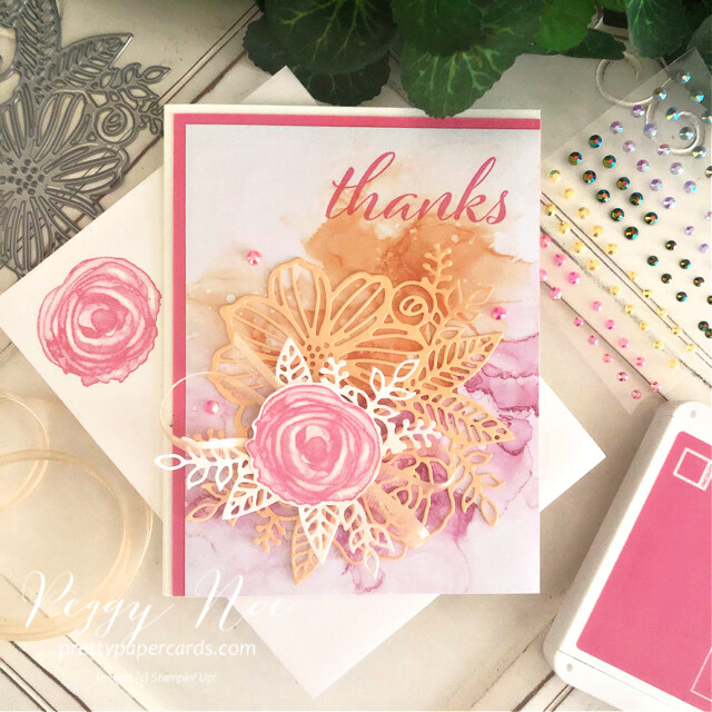 Handmade Thank You Card using the Expressions in Ink Suite by Stampin' Up! designed by Peggy Noe of Pretty Paper Cards #expressionsinink #artisticallyinked #thankyoucard #thankscard #palepapaya #polishedpink #thankyoucard #thankscard #peggynoe #prettypapercards #prettypapercards.com #artisticdies #flowercard #watercolorcard #expressionsininkdsp #expressionsininkpaper #stampinup #stampingup #handmadecard #stampinupdemo #stampinupdemonstrator