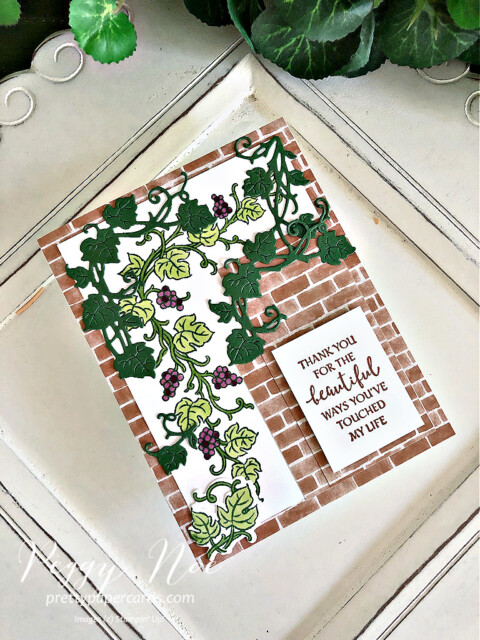 Handmade card using the Forever Grapevine Bundle by Stampin' Up! created by Peggy Noe of Pretty Paper Cards #prettypapercards #peggynoe #forevergrapevine #forevergrapevinebundle #stampinup #stampingup #grapevine #grapesonavine #grapevineonbrick #thankyou #thankyoucard #forevergrapevinecard #touchedmylife #you'resosweet