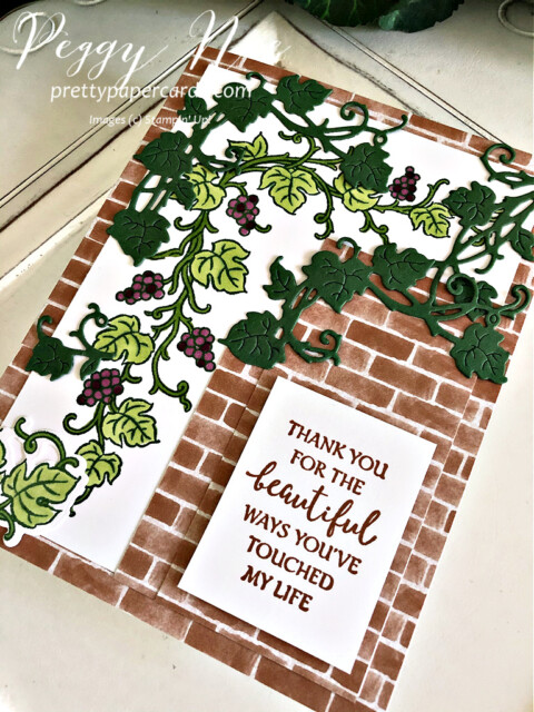 Handmade card using the Forever Grapevine Bundle by Stampin' Up! created by Peggy Noe of Pretty Paper Cards #prettypapercards #peggynoe #forevergrapevine #forevergrapevinebundle #stampinup #stampingup #grapevine #grapesonavine #grapevineonbrick #thankyou #thankyoucard #forevergrapevinecard
