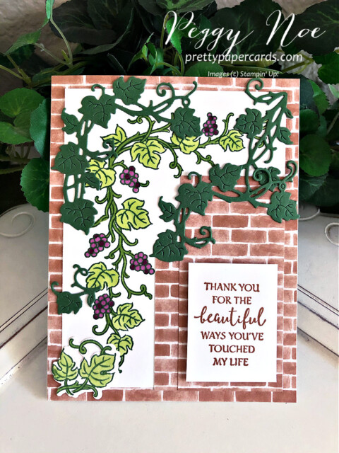 Handmade card using the Forever Grapevine Bundle by Stampin' Up! created by Peggy Noe of Pretty Paper Cards #prettypapercards #peggynoe #forevergrapevine #forevergrapevinebundle #stampinup #stampingup #grapevine #grapesonavine #grapevineonbrick #thankyou #thankyoucard