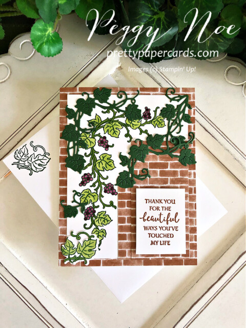 Handmade card using the Forever Grapevine Bundle by Stampin' Up! created by Peggy Noe of Pretty Paper Cards #prettypapercards #peggynoe #forevergrapevine #forevergrapevinebundle #stampinup #stampingup #grapevine #grapesonavine #grapevineonbrick #thankyou #thankyoucard #forevergrapevinecard #touchedmylife