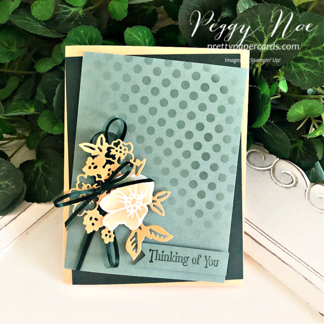 Handmade Thinking of You Card made with the Hand Penned Stamp Set by Stampin' Up! created by Peggy Noe of Pretty Paper Cards #handpenned #quietmeadowstampset #decorativemask #palepapaya #gdp293