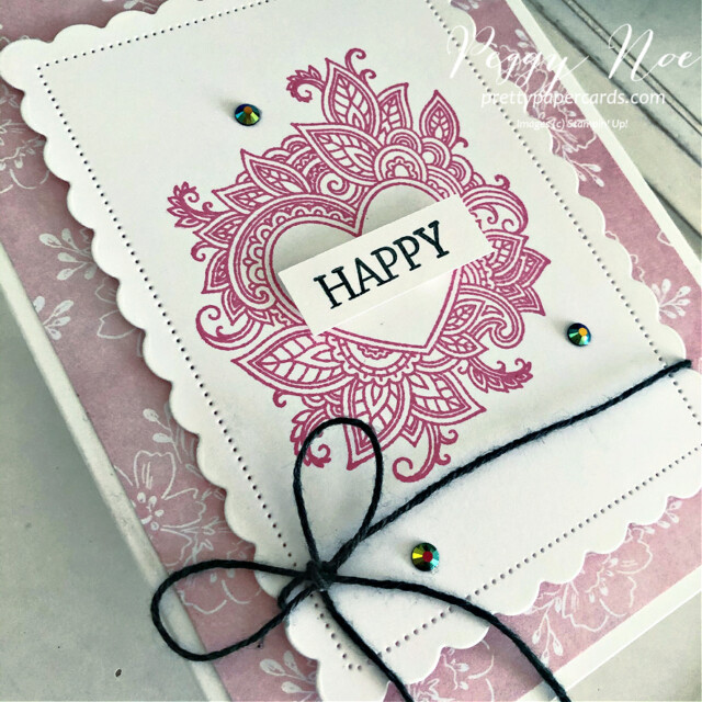 Handmade All-Occasion Card created with the Henna Hearts and Create With Friends stamp sets by Stampin' Up! made by Peggy Noe of prettypapercards.com #prettypapercards.com #hennaheartsstampset #createwithfriendsstampset #polishedpinkink #alloccasioncard #scallopedcontoursdies #happycard #colorbakerstwine #stampincut&embossmachine #heartcard #handmadeheartcard #eveningevergreen #handpennedpaper #handpenneddsp #handpenneddesignerpaper #designerseriespaper #stampinup #stampingup