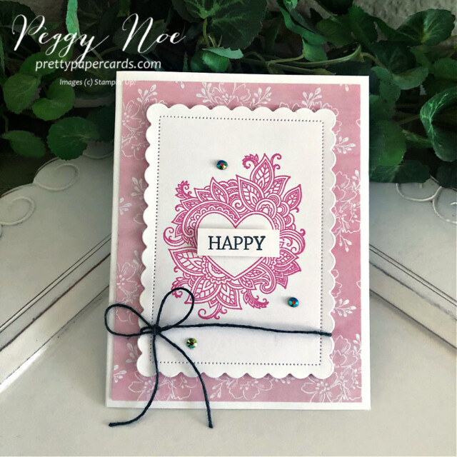 Handmade All-Occasion Card created with the Henna Hearts and Create With Friends stamp sets by Stampin' Up! made by Peggy Noe of prettypapercards.com #hennaheartsstampset #createwithfriendsstampset #polishedpinkink #alloccasioncard #scallopedcontoursdies #happycard #colorbakerstwine #stampincut&embossmachine #heartcard #handmadeheartcard #eveningevergreen #handpennedpaper #handpenneddsp #handpenneddesignerpaper