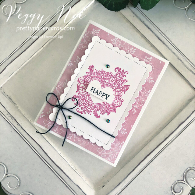 Handmade All-Occasion Card created with the Henna Hearts and Create With Friends stamp sets by Stampin' Up! made by Peggy Noe of prettypapercards.com #prettypapercards.com #hennaheartsstampset #createwithfriendsstampset #polishedpinkink #alloccasioncard #scallopedcontoursdies #happycard #colorbakerstwine #stampincut&embossmachine #heartcard #handmadeheartcard #eveningevergreen #handpennedpaper #handpenneddsp #handpenneddesignerpaper #designerseriespaper #stampinup