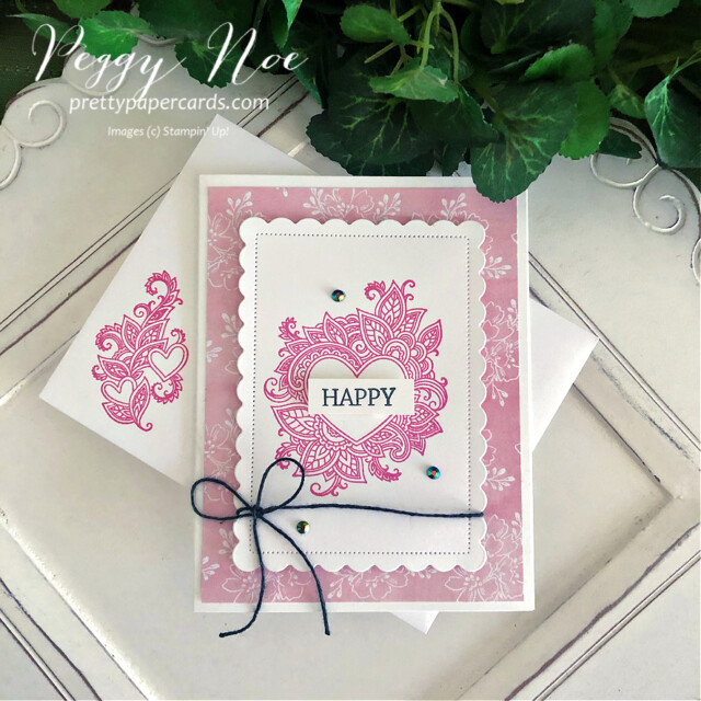 Handmade All-Occasion Card created with the Henna Hearts and Create With Friends stamp sets by Stampin' Up! made by Peggy Noe of prettypapercards.com #hennaheartsstampset #createwithfriendsstampset #polishedpinkink #alloccasioncard #scallopedcontoursdies #happycard #colorbakerstwine #stampincut&embossmachine #heartcard #handmadeheartcard #eveningevergreen #handpennedpaper #handpenneddsp #handpenneddesignerpaper #stampinup