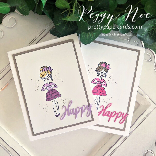 """Handmade """"Happy"""" card using the Hey Girlfriend stamp set by Stampin' Up! created by Peggy Noe of prettypapercards.com #heygirlfriend #heygirlfriendcard #happycard #polishedpink #freshfreesia #girlcard #stampinup #stampingup #peggynoe #prettypapercards #prettypapercards.com #wordwishes #wordwishesdies"""