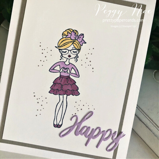 """Handmade """"Happy"""" card using the Hey Girlfriend stamp set by Stampin' Up! created by Peggy Noe of prettypapercards.com #heygirlfriend #heygirlfriendcard #happycard #polishedpink #freshfreesia #girlcard #stampinup #peggynoe #prettypapercards #wordwishes #wordwishesdies"""