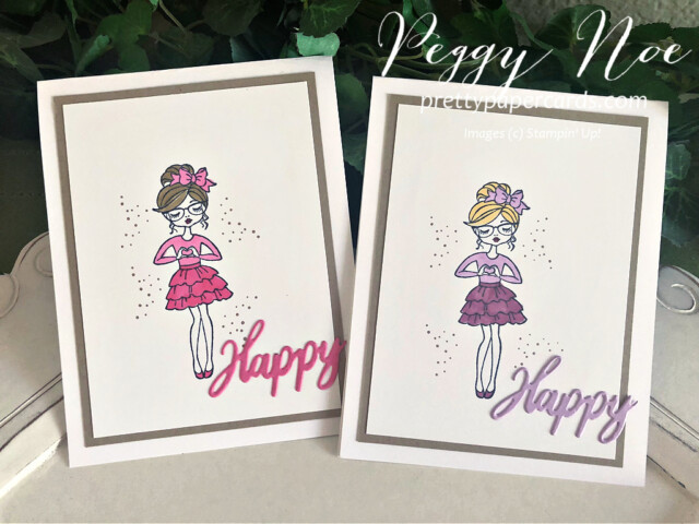 """Handmade """"Happy"""" card using the Hey Girlfriend stamp set by Stampin' Up! created by Peggy Noe of prettypapercards.com #heygirlfriend #heygirlfriendcard #happycard #polishedpink #freshfreesia #girlcard #stampinup #peggynoe #prettypapercards #wordwishes #wordwishesdies #stampingup"""