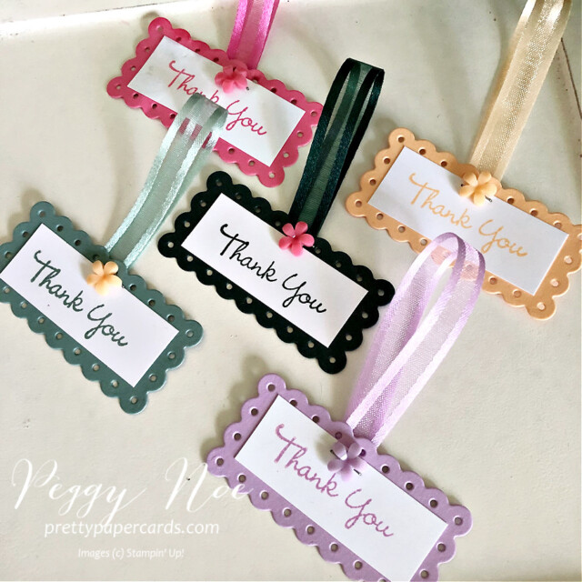 Stampin' Up! 2021-2023 In Colors Peggy Noe prettypapercards #2021-2023InColors #stampinup #stampingup #peggynoe #prettypapercards #freshfreesia #polishedpink #tags #foryoucard #thankyoutags #thankyou #prettypapercards.com