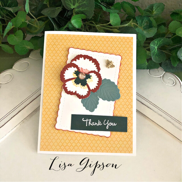 Handmade Thank You Card Using the Pansy Patch Bundle by Stampin' Up! Pretty Paper Cards #pansypatchbundle #pansypatch #pansycard #thankyoucard #thankyou #stampinup #stampingup #prettypapercards