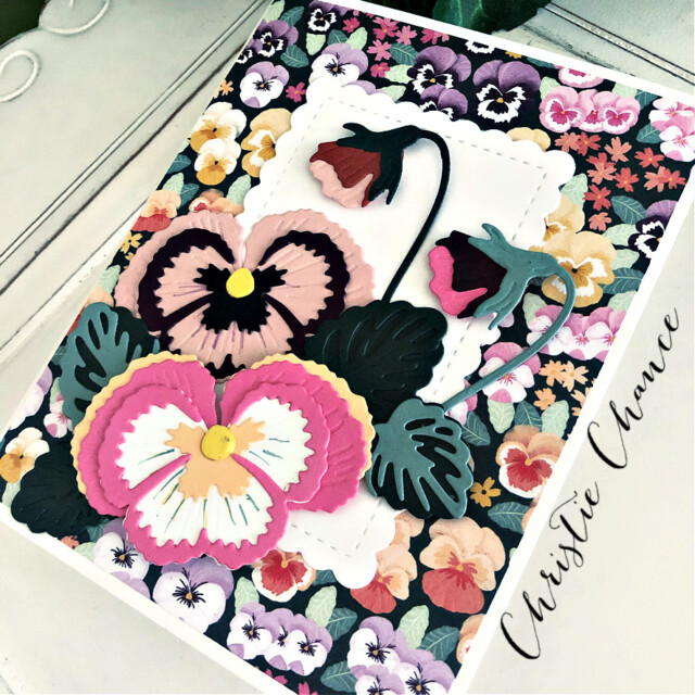 Handmade Thank You Card Using the Pansy Patch Bundle by Stampin' Up! Pretty Paper Cards #pansypatchbundle #pansypatch#thankyoucard #thankyou #stampinup #stampingup #prettypapercards #pansies #cut&embossmachine