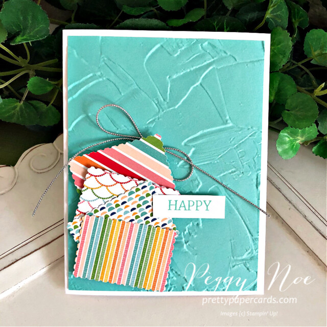 Quick & Easy Handmade Card using Stampin' Up! Pattern Party Paper created by Peggy Noe of Pretty Paper Cards #peggynoe #prettypapercards #patternparty #patternpartypaper #rectanglepostagestamppunch #paintedtextureembossingfolder #stampinup #stampingup #easyhandmadecard #createwithfriends