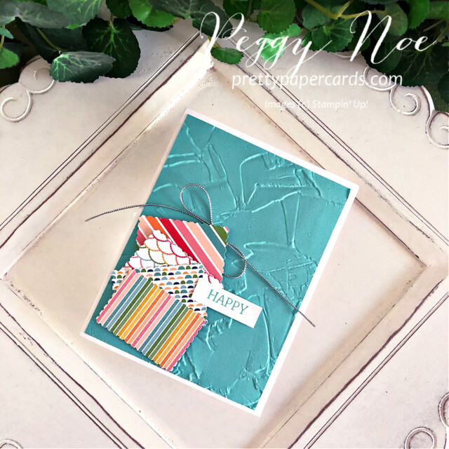 Quick & Easy Handmade Card using Stampin' Up! Pattern Party Paper created by Peggy Noe of Pretty Paper Cards #peggynoe #prettypapercards #patternparty #patternpartypaper #rectanglepostagestamppunch #paintedtextureembossingfolder #stampinup #stampingup #easyhandmadecard #bermudabay #createwithfriends