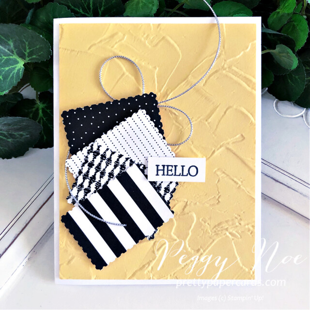 Quick & Easy Handmade Card using Stampin' Up! Pattern Party Paper created by Peggy Noe of Pretty Paper Cards #peggynoe #prettypapercards #patternparty #patternpartypaper #rectanglepostagestamppunch #paintedtextureembossingfolder #stampinup #stampingup #easyhandmadecard #black&white #hellocard #blackwhiteyellowcard #createwithfriends