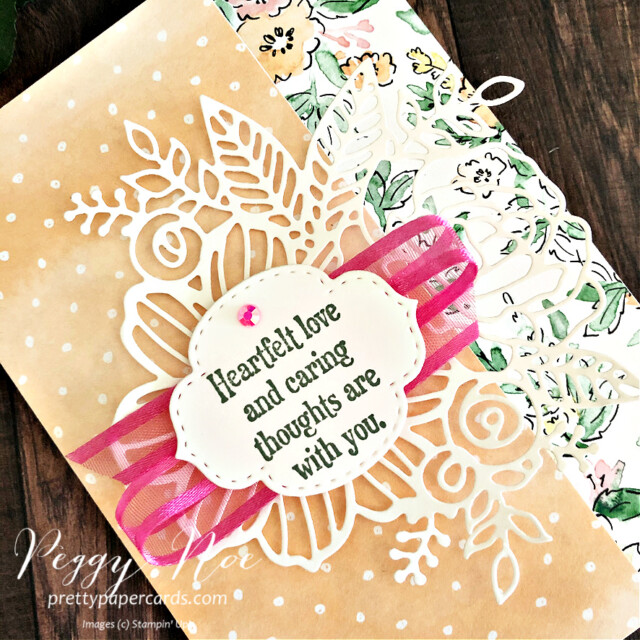 Handmade Card using the Quiet Meadow Stamp Set by Stampin' Up! created by Peggy Noe of prettypapercards.com #quietmeadow #artisticdies #handpenneddsp #stampinup #stampingup #peggynoe #prettypapercards #heartfeltlove #polishedpinkribbon
